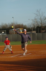President Benson threw the first pitch at the ELU-Belmont night game.